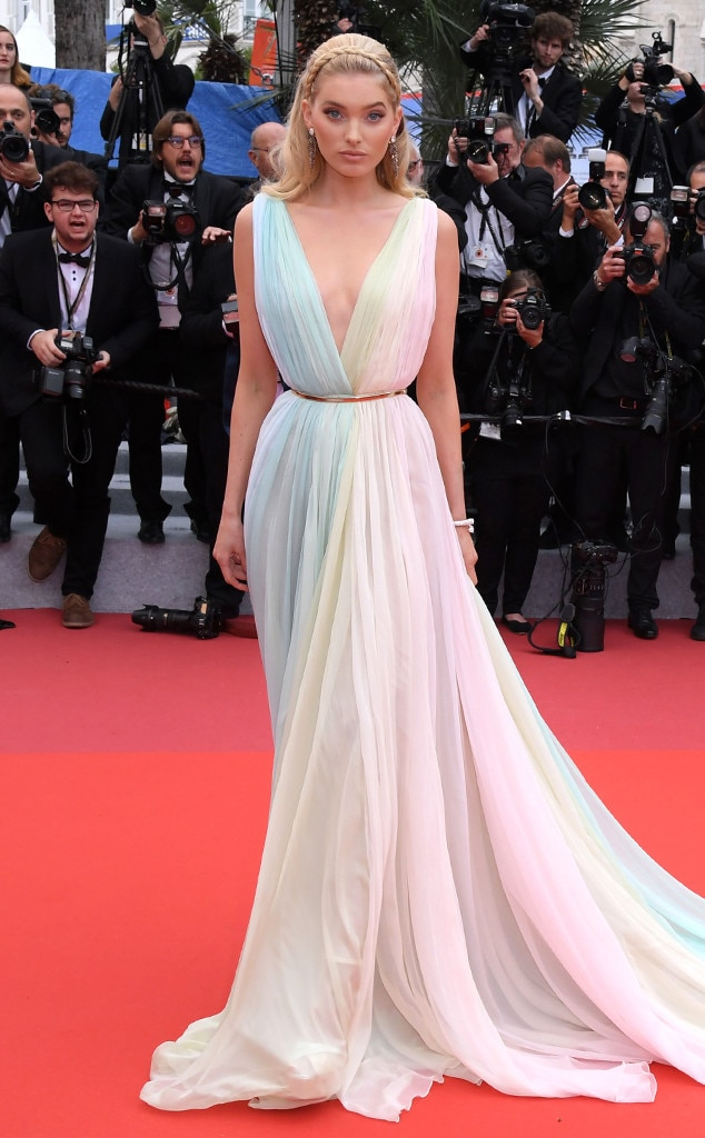 Elsa Hosk -  The model showcases a pastel rainbow gown.