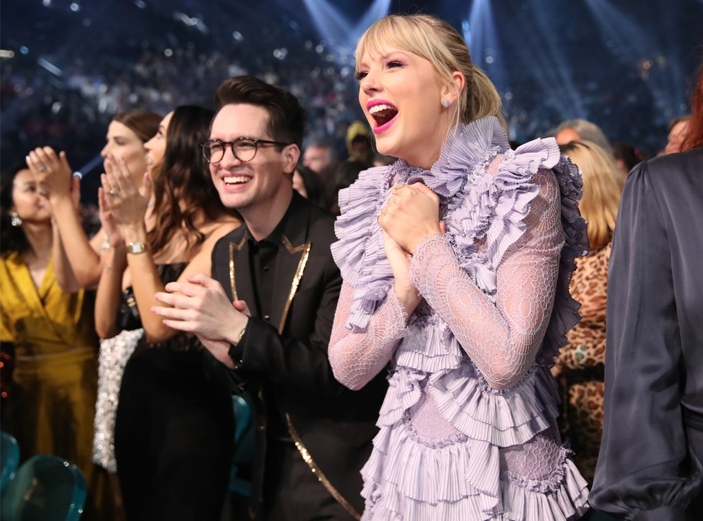 "Taylor Swift & Brendon Urie -  By the looks on their faces, it seems like the ""ME!"" collaborators are having a good time."