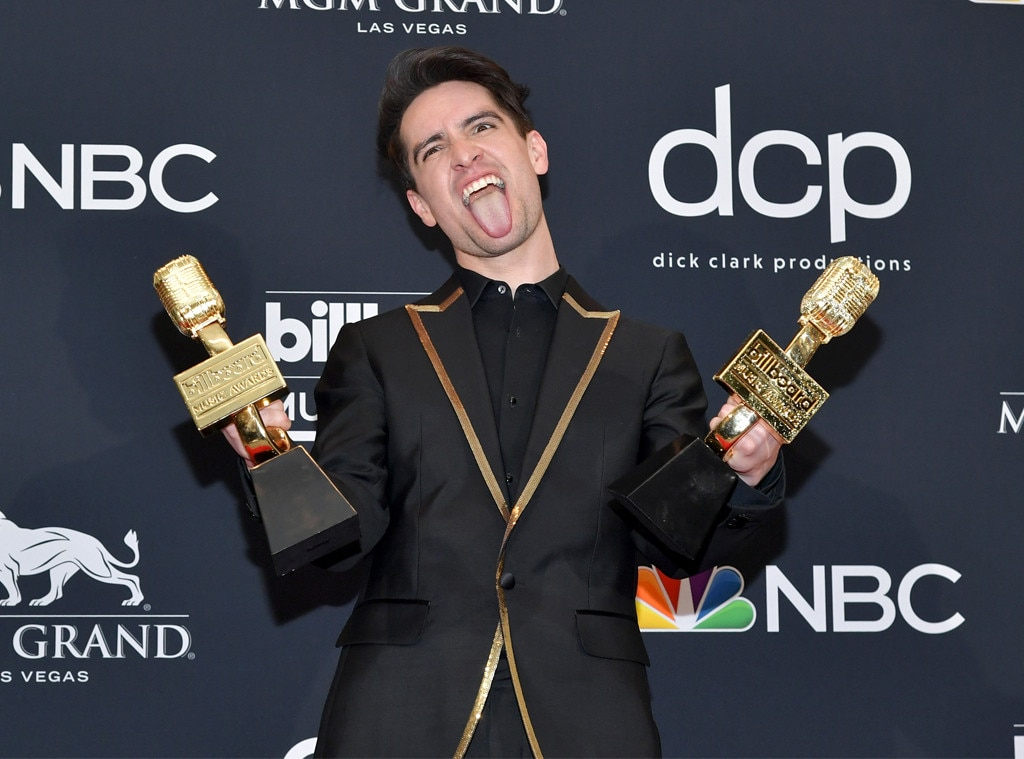 Brendon Urie -  The  Panic! at the Disco  singer celebrates his two wins with a silly face.