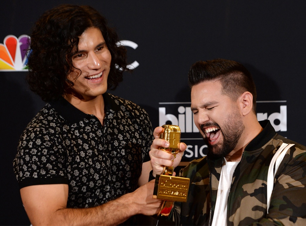 Dan + Shay -  The Top Country Duo/Group winners share a laugh while posing with their new trophy.