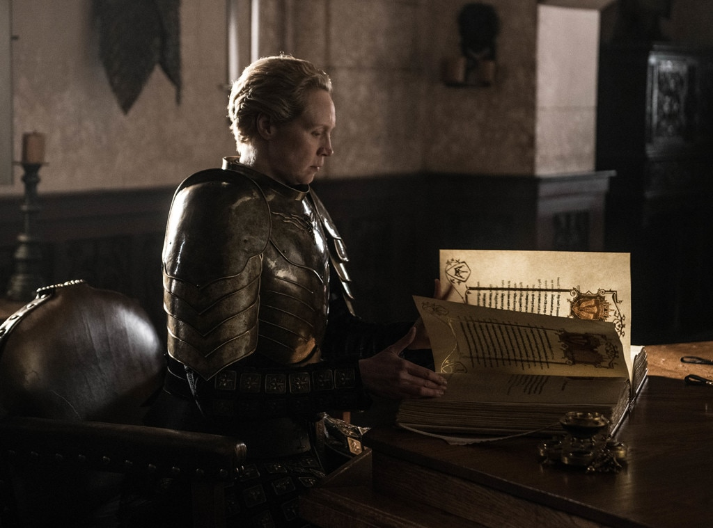 Gwendoline Christie on Brienne's Blogger Ending -  Before she joined the council (as the head of the Kingsguard, finally!) to talk about brothels and ships, we saw Brienne writing about Jaime serving his queen...which is something he basically abandoned her to do. Christie was not as bothered by that ending as many others were.