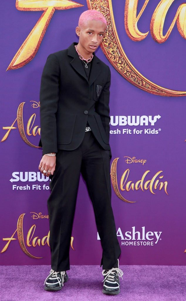 Jaden Smith -  Jaden lets his neon pink hair do all of the talking as he steps onto the purple carpet in an all-black ensemble.