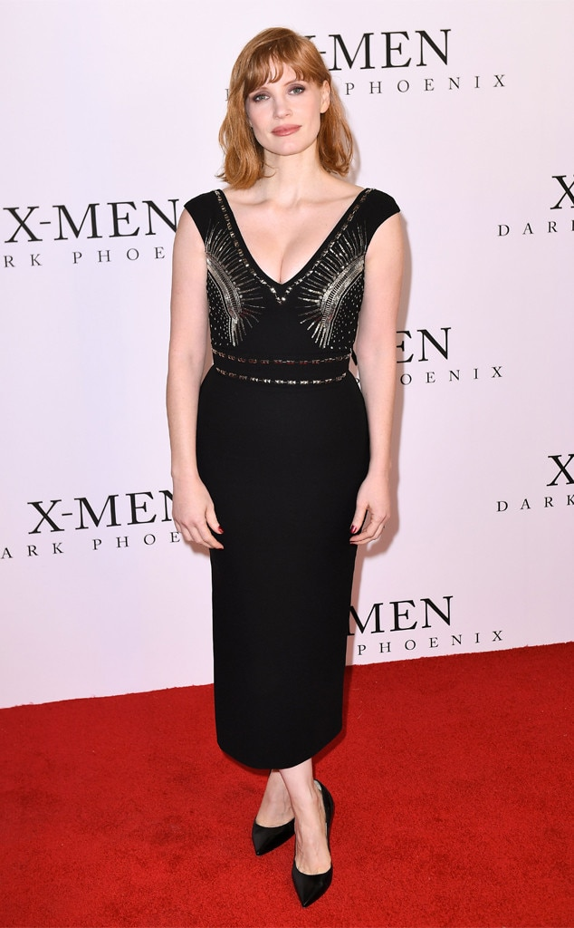 A Bit of Sparkle -  Actress  Jessica Chastain added a bit of sparkle to her black dress while  attending the film premiere for 'X-Men: Dark Phoenix' in London.