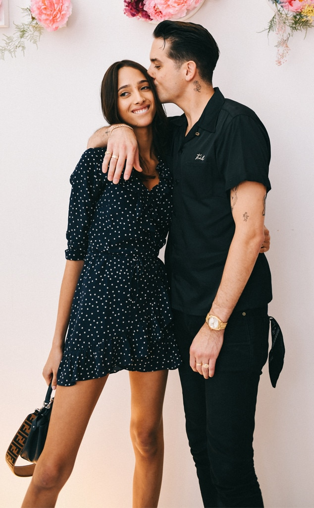 G-Eazy & Yasmin Wijnaldum -  Sneaking a kiss! The rapper and  Victoria's Secret  model attend the KROST second semester collection at a pop-up store in New York City.