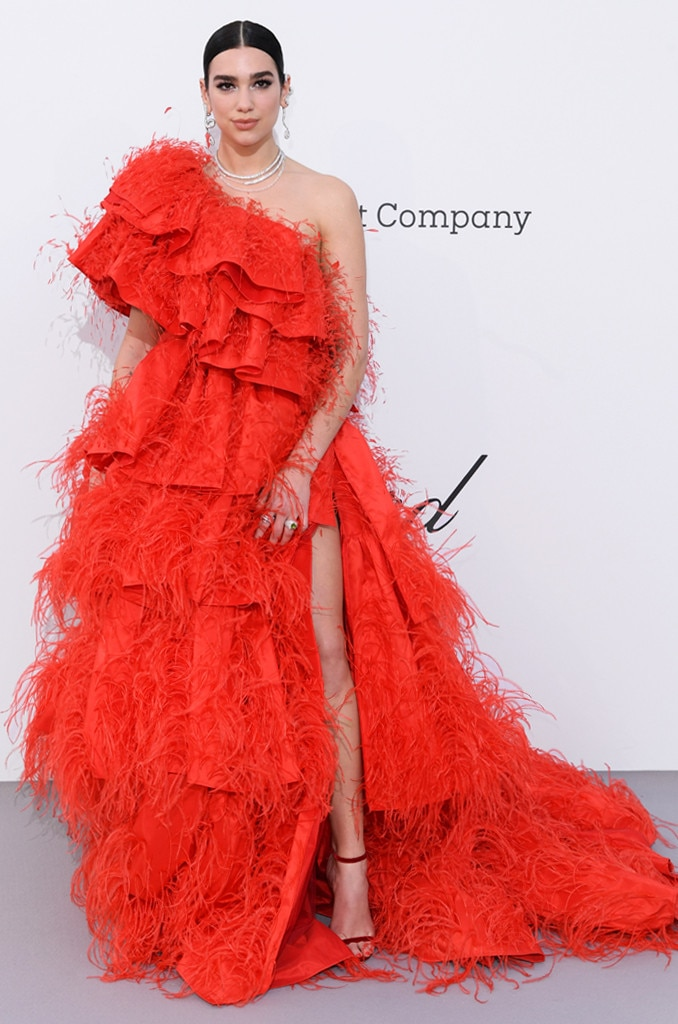"Dua Lipa -  The ""New Rules"" singer makes a grand entrance in a red hot Valentino dress."
