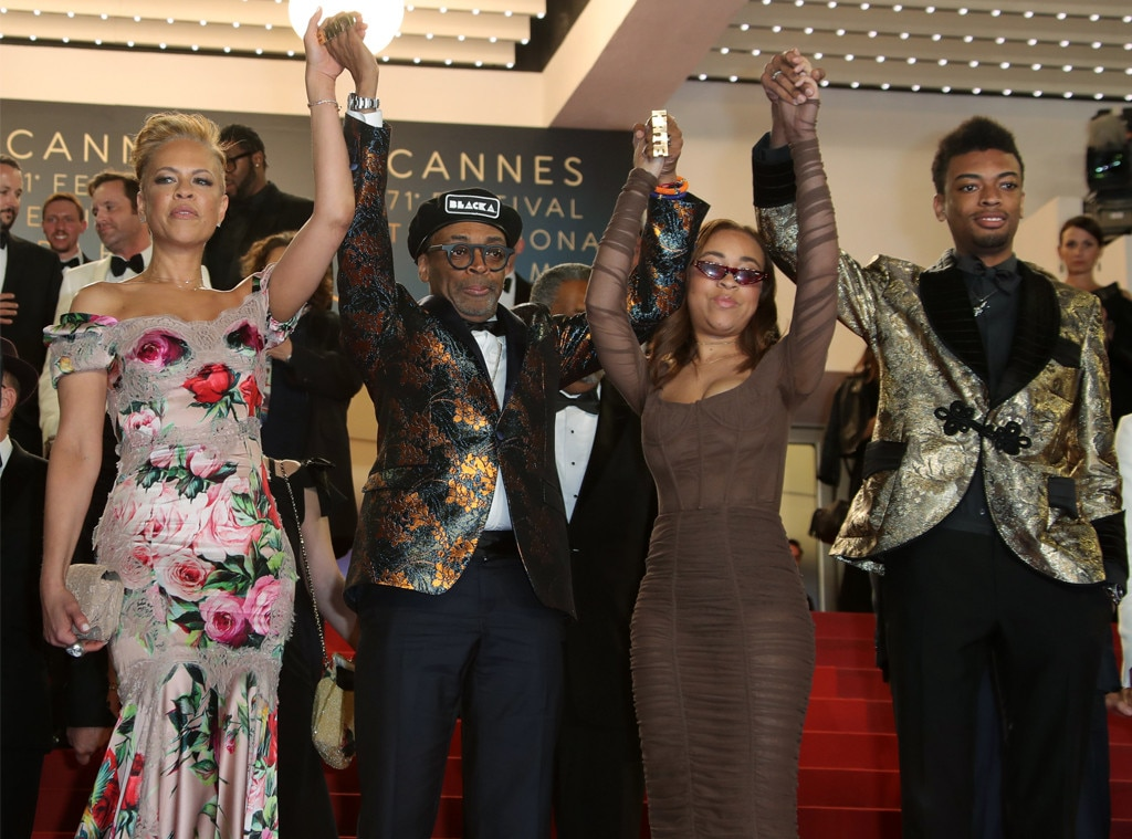 Spike Lee, Tonya Lewis, Satchel Lee & Jackson Lee -  The 62-year-old director takes a moment on the red carpet to pose with his family at the  BlacKKKlansman  screening.