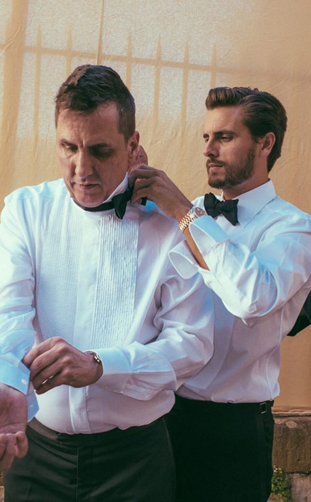 Getting Ready - Scott Disick  helps a fellow guest with his bow tie before the ceremony.