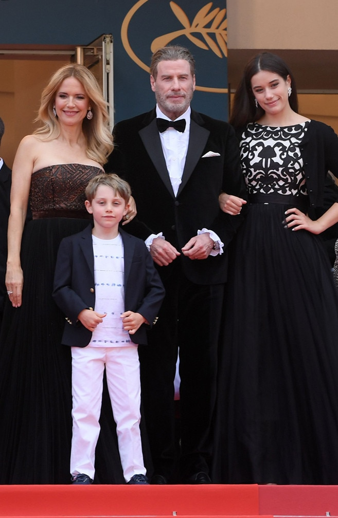 John Travolta, Kelly Preston, Ella Bleu Travolta & Benjamin Travolta -  The famous family hits the red carpet and poses for cameras at the 2019 Cannes Film Festival.