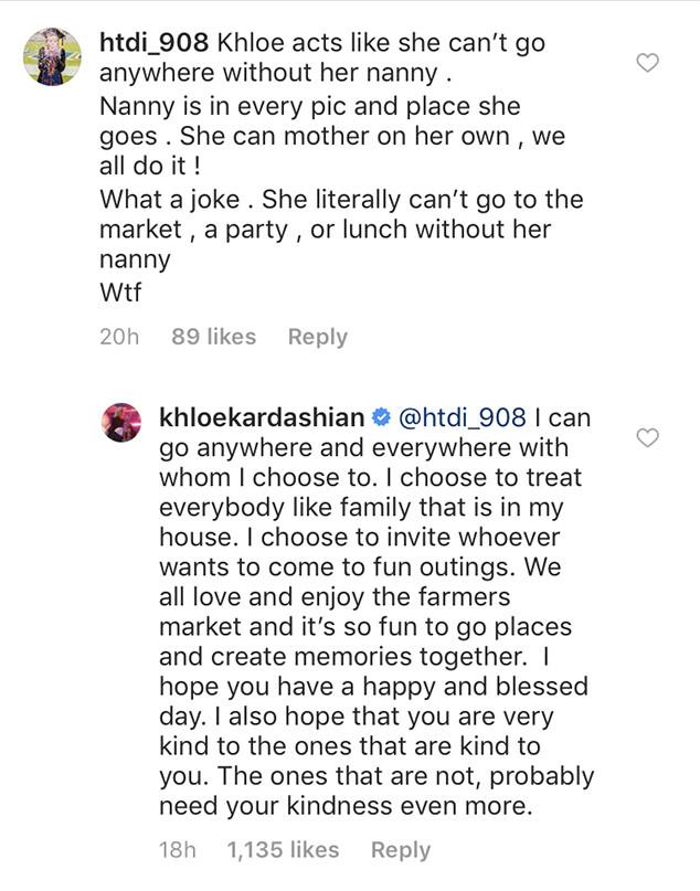 Khloe Kardashian, Instagram, Clapback