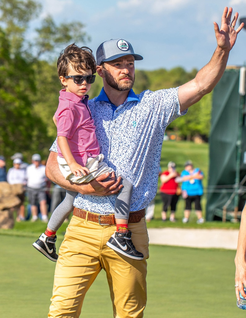 Winning -  Who knows if  Justin Timberlake  actually won the Bass Pro Shops Legends of Golf tournament. Perhaps the best prize is having his son along for the ride.