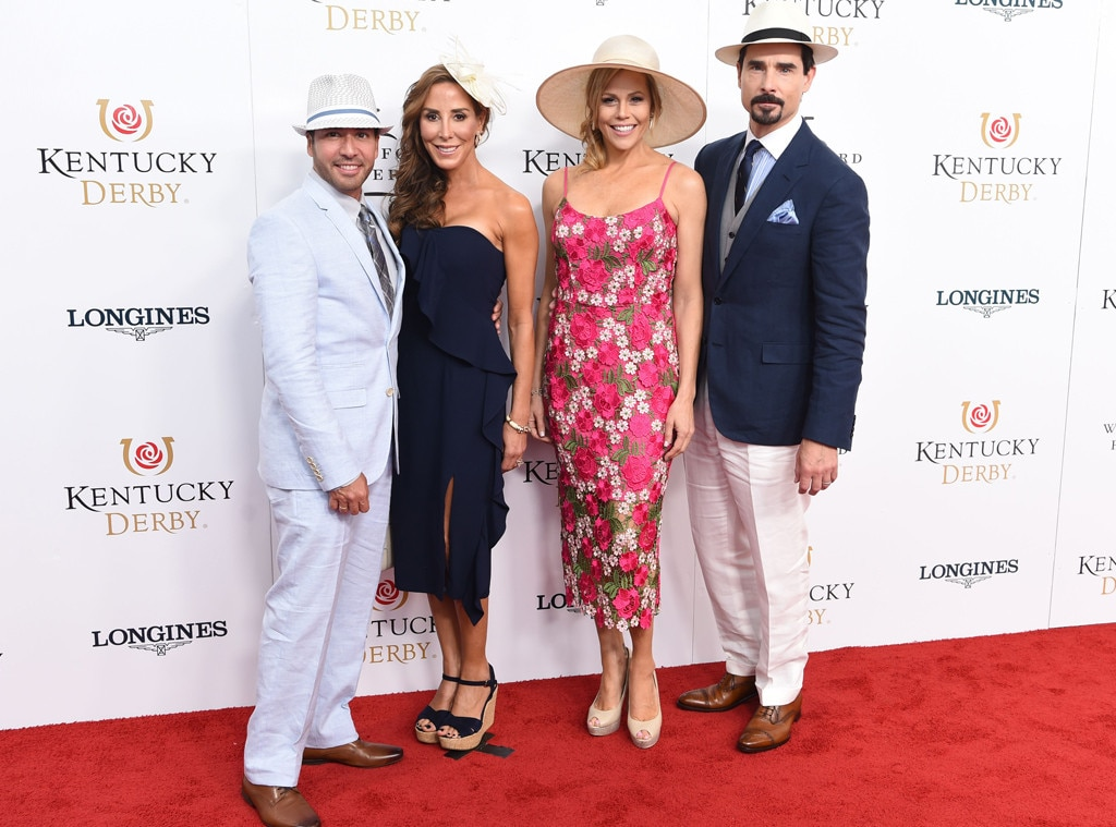 Howie Dorough, Leigh Dorough, Kristin Richardson & Kevin Richardson -  Howie Dorough and Kevin Richardson of the Backstreet Boys look larger than life as they pose with their wives at the Kentucky Derby.