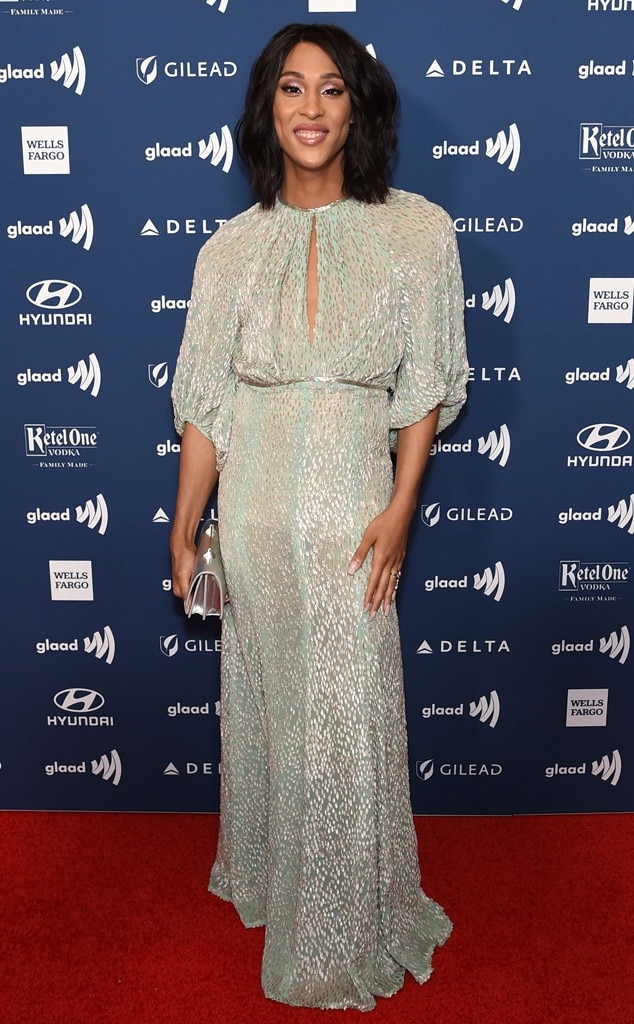 MJ Rodriguez -  TheBlanca Rodriguez-Evangelista actress shines in a silver dress on the red carpet at the 2019 GLAAD Media Awards.