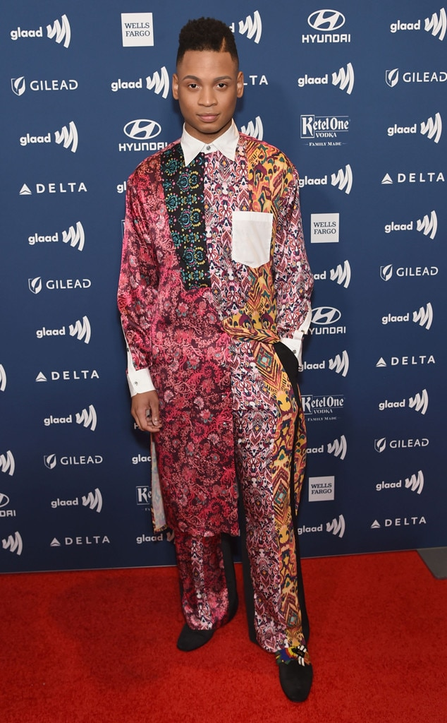 Ryan Jamaal Swain -  The  Pose actor goes all out with patterns on the red carpet at the 2019 GLAAD Media Awards in New York City.