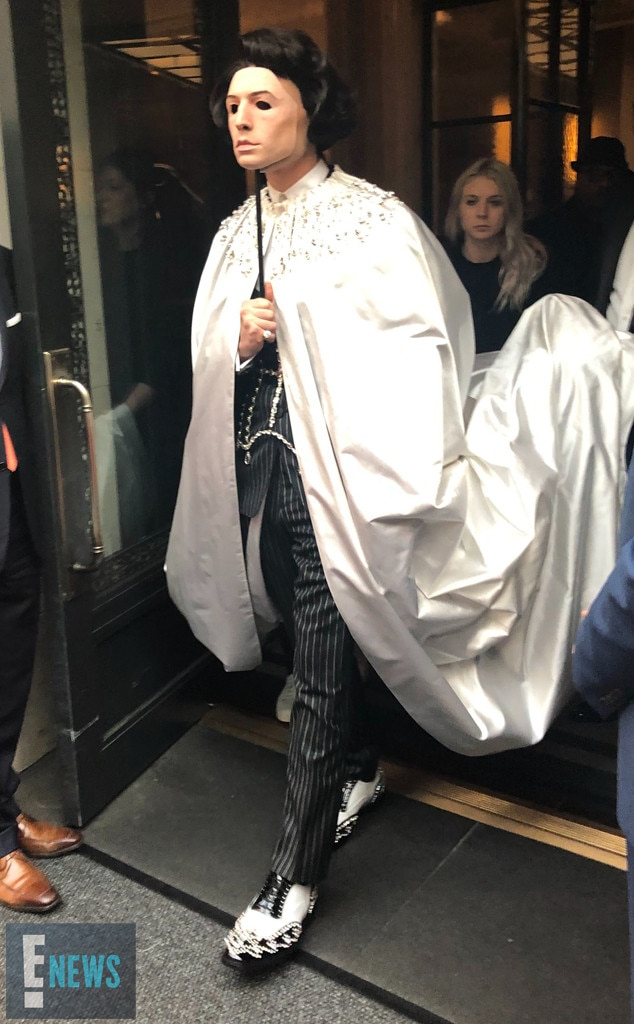 Ezra Miller -  The Fantastic Beasts star wore a mask as he made his way to the Met Gala.