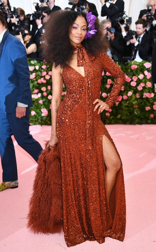 Zoe Saldana -  The  Avengers: Endgame  actress dazzled on the steps of the Met Galaand gave us major '70s vibes in this glitzy gown.