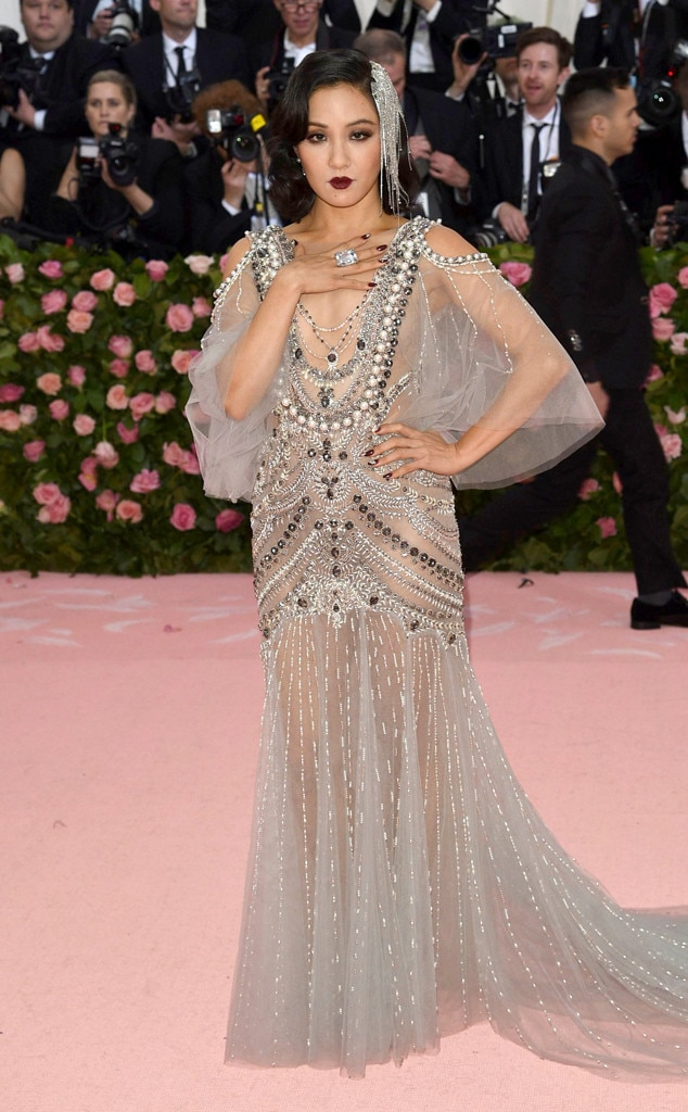 Constance Wu -  The  Crazy Rich Asians  star gave off major 1920s vibes in this glamorous Marchesa pearl and crystal gown.