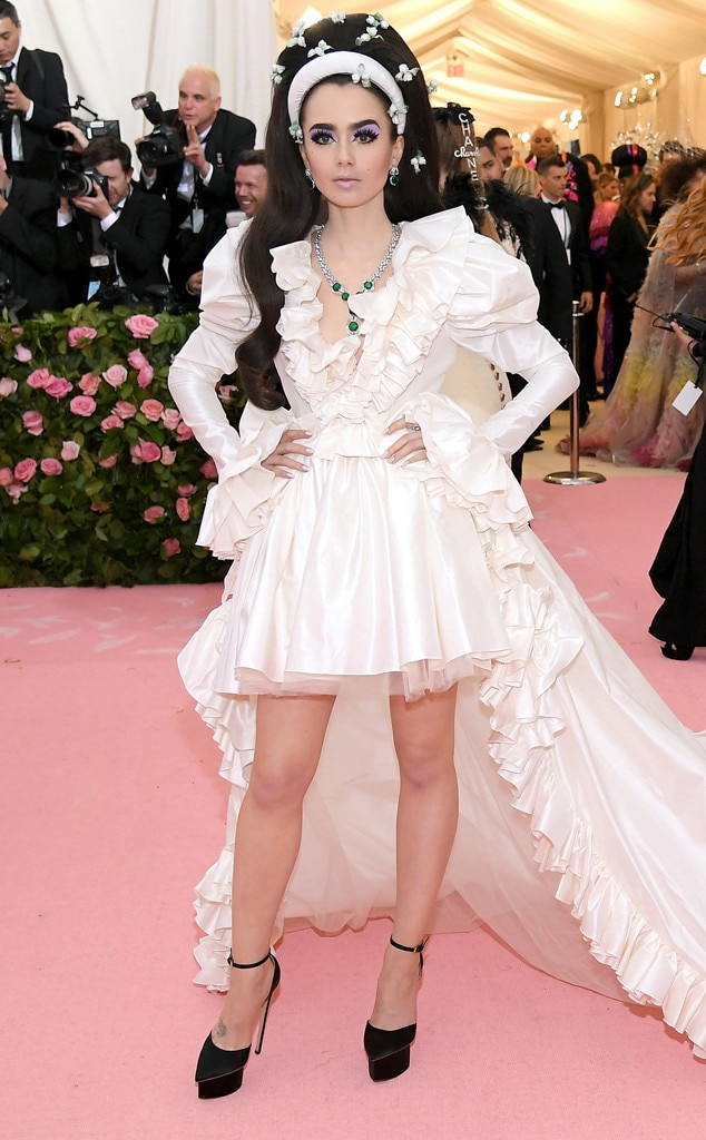 Image result for lily collins met gala 2019