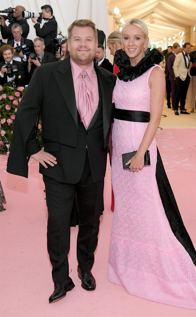 James Corden & Julia Carey - The Late Late Show  host and his wife are pretty in pink in New York.