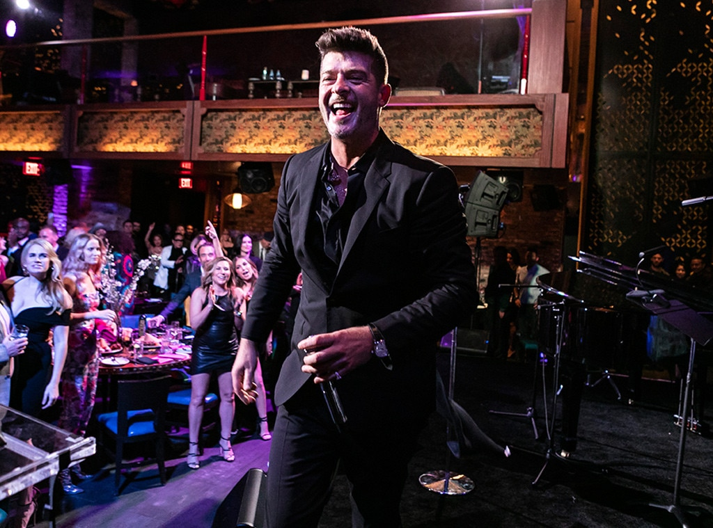 "Robin Thicke -  The ""Blurred Lines"" singer performs at the Rhonda's Kiss Good Fortune Gala, an evening to raise funds for cancer patients in need, at TAO Los Angeles."