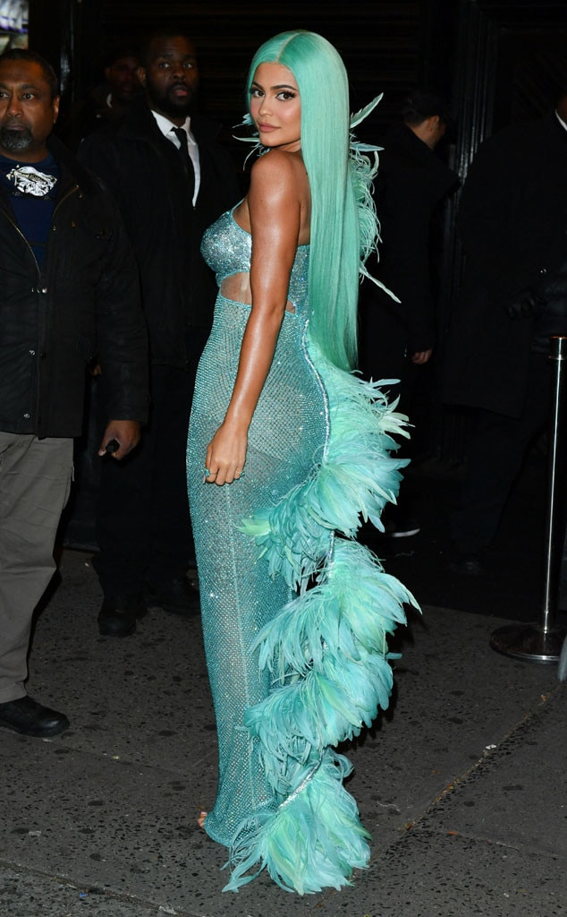 A Rainbow of Designs -  From purple to turquoise,  Kylie Jenner  opted for colorful designs for this year's Met Gala.