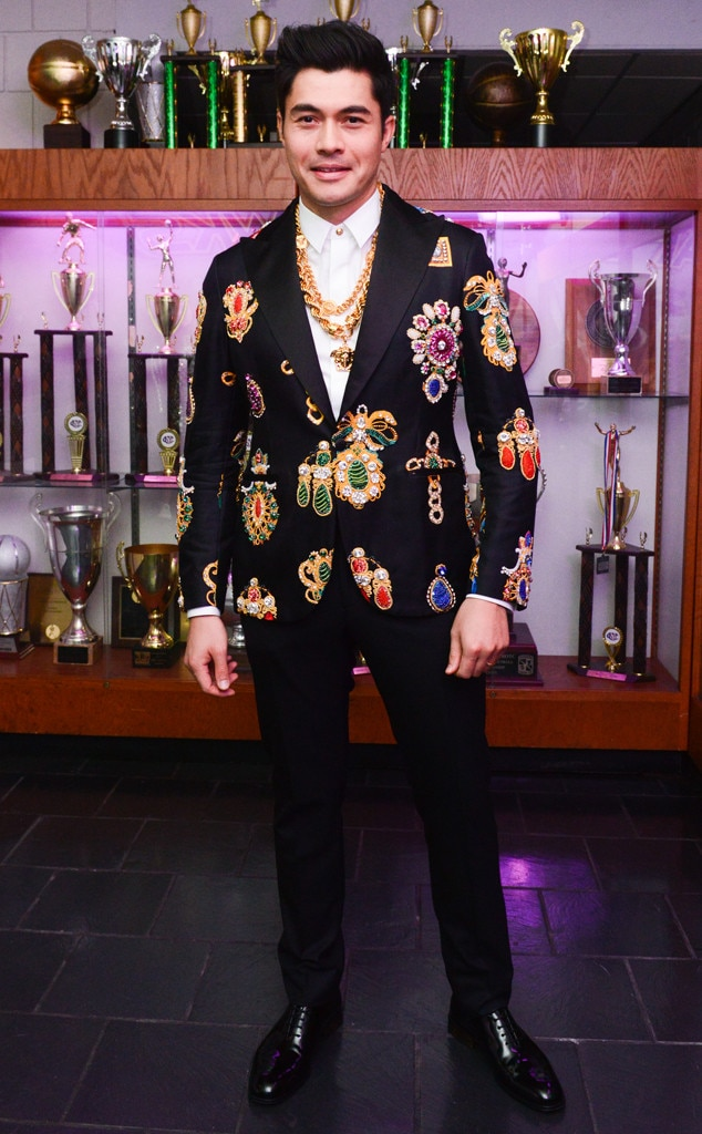 Blinged-Out Blazer - Henry Golding  looked like royalty in his suit.