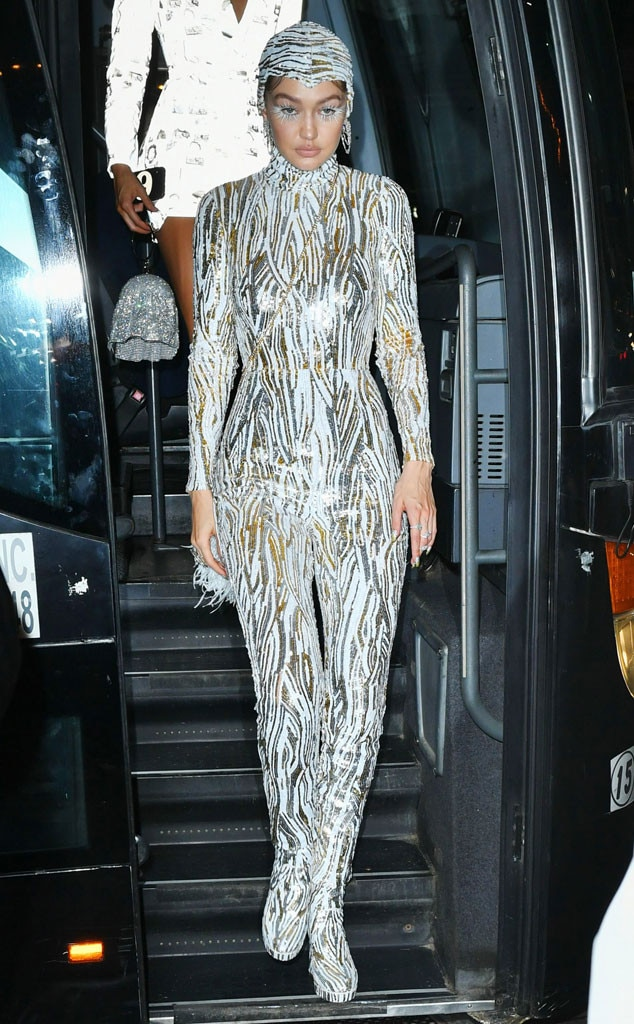 Stunning in Sequins - Gigi Hadid  continued to rock her Michael Kors jumpsuit to the after-party.