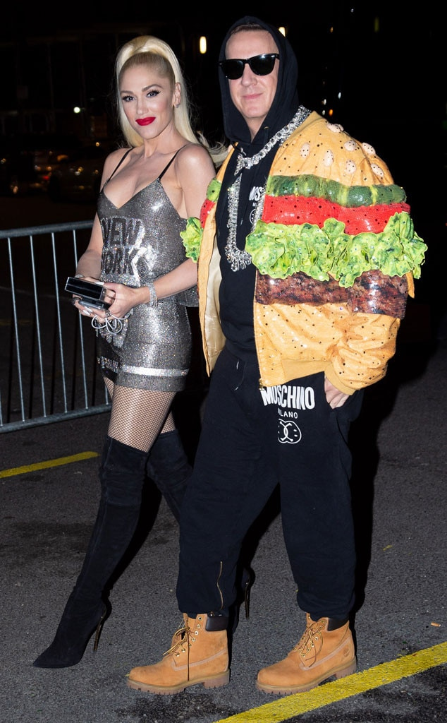A Hamburger to Go - Gwen Stefani  looked stunning in silver as she walked next to  Jeremy Scott , who wore a hamburger jacket similar to Katy Perry's ensemble.