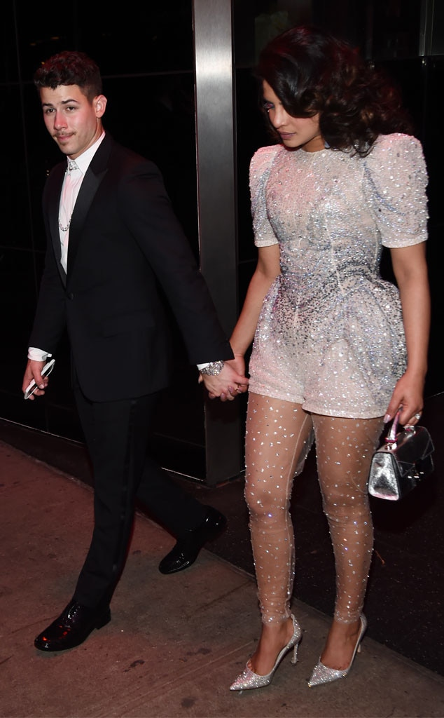 Fun Night Out - Nick Jonas  and  Priyanka Chopra  walked into the party hand-in-hand.