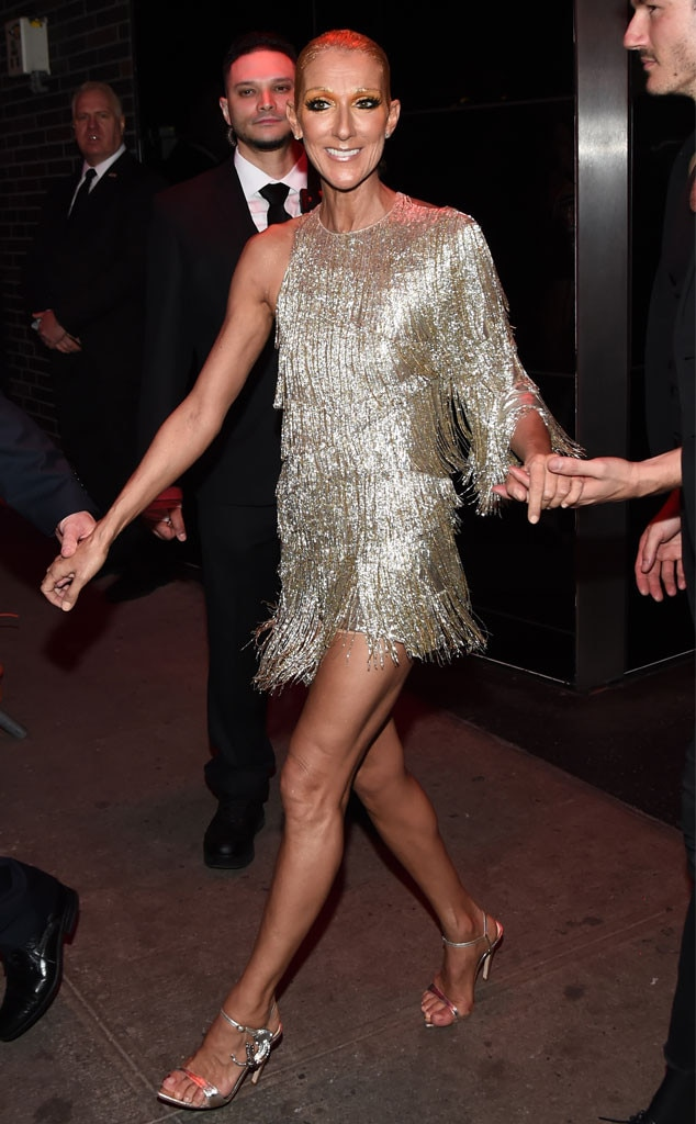 All Smiles - Celine Dion  flashed a smile as she headed into the party.