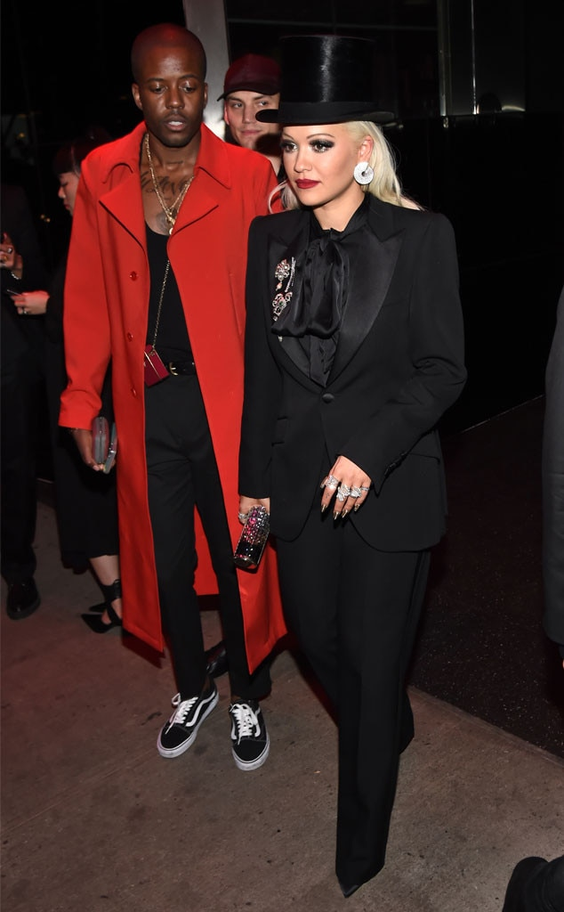 Hats Off to You - Rita Ora  arrived at the party in a black top hat and suit along with  Vas J Morgan .