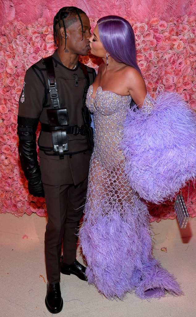 A Stylish Smooch -  What would a Met Gala date night be for Kylie Jenner and Travis Scott without a kiss?