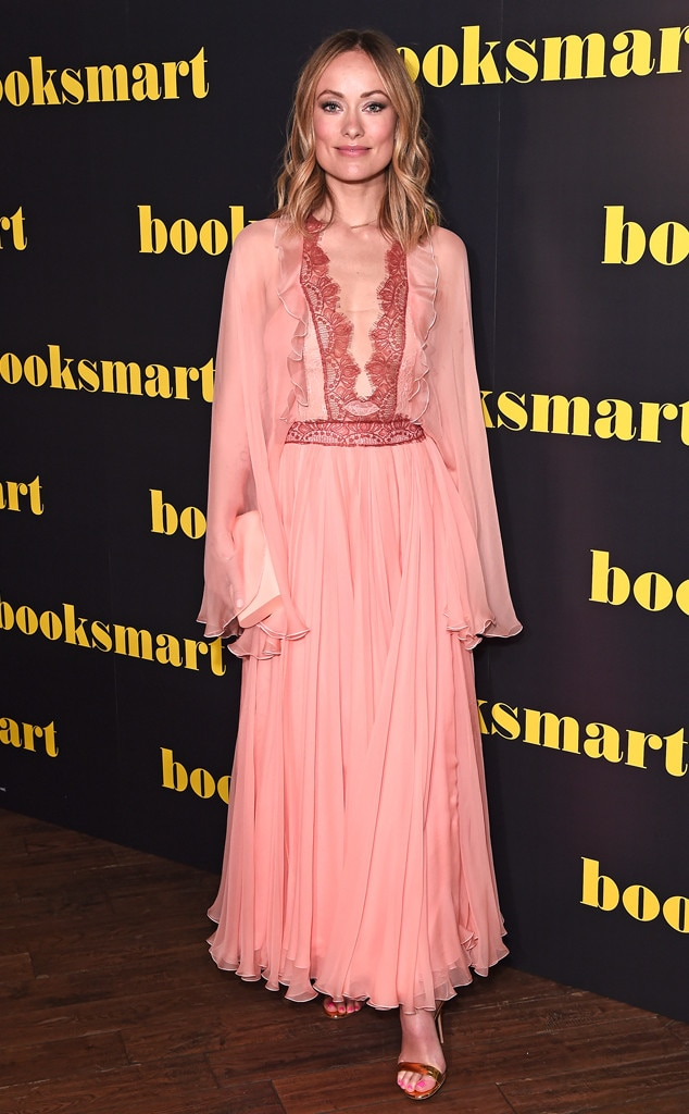 Picture Perfect - Olivia Wilde  looks gorgeous in a pink chiffon gown by Giambattista Valli as she attends a UK screening of her new movie,  Booksmart .