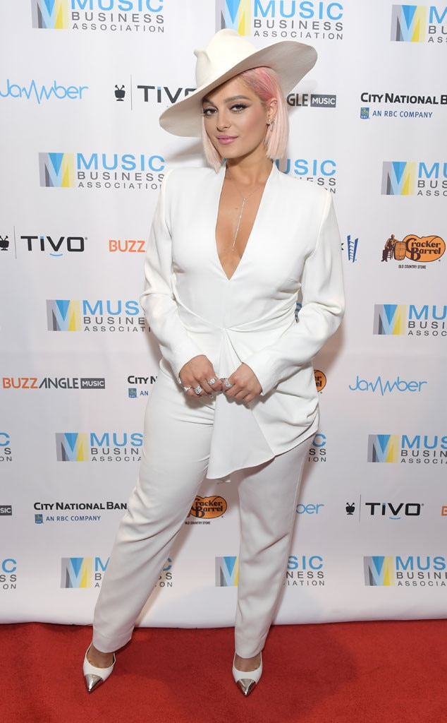 Angel in White -  Singer  Bebe Rexha looked heavenly in all white apparel as sheattends the Music Biz 2019 Awards & Hall of Fame event in Nashville.