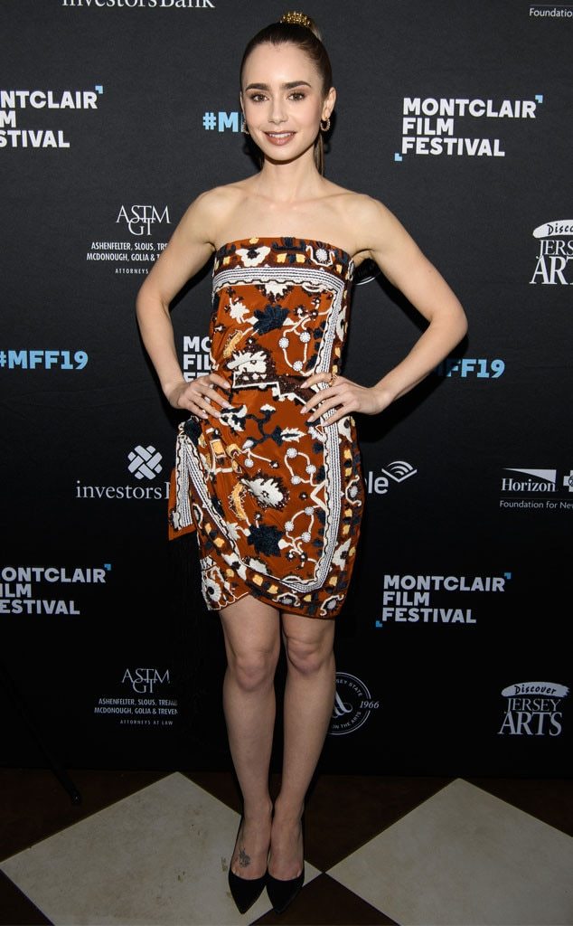 Pattern Play - Lily Collins  is looking simple and sweet in a multi-print Oscar De La Renta mini dress at the Montclair Film Festival.
