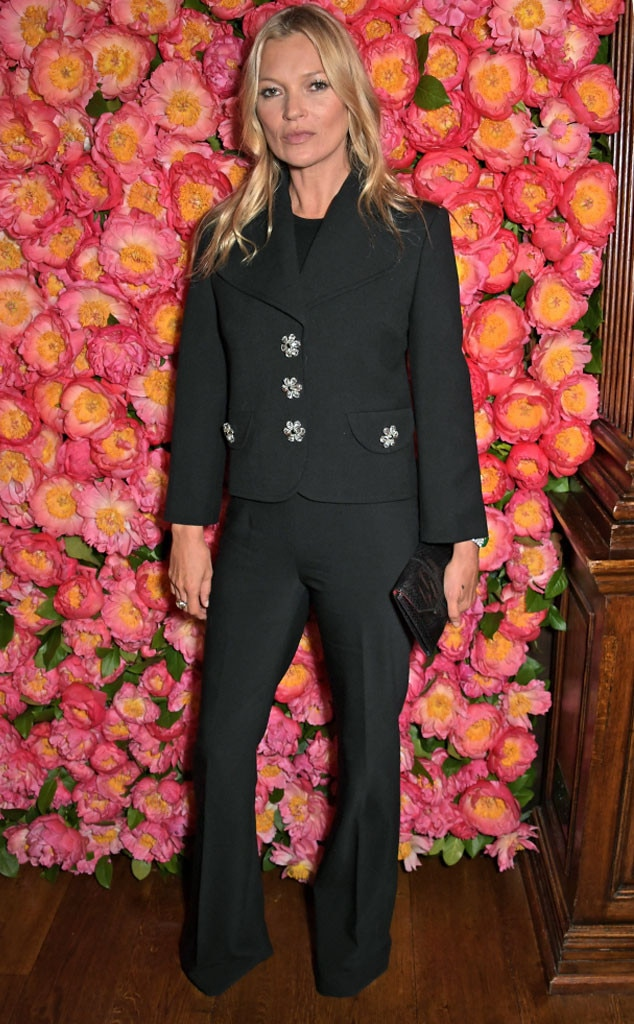 Beauty in Black -  Supermodel  Kate Moss rocked a business chic suit while attending a private dinner hosted by Michael Kors to celebrate the new Collection Bond St Flagship Townhouse in London.