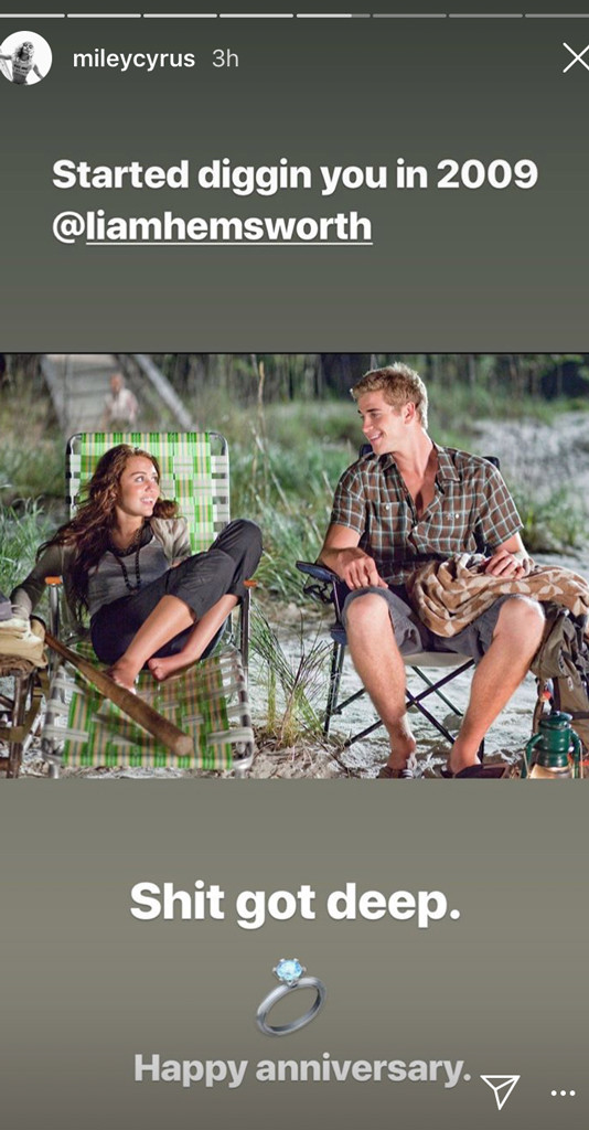 Miley Cyrus Slams Liam Hemsworth在周年纪念邮报中散布谣言 -  E!新闻 -rs_534x1024-190611082415-miley-cyrus-liam-hemsworth-last-song