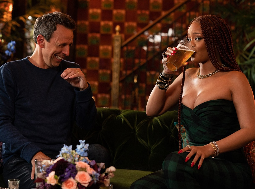Rihanna, Seth Meyers spend the day drinking on 'Late Night'