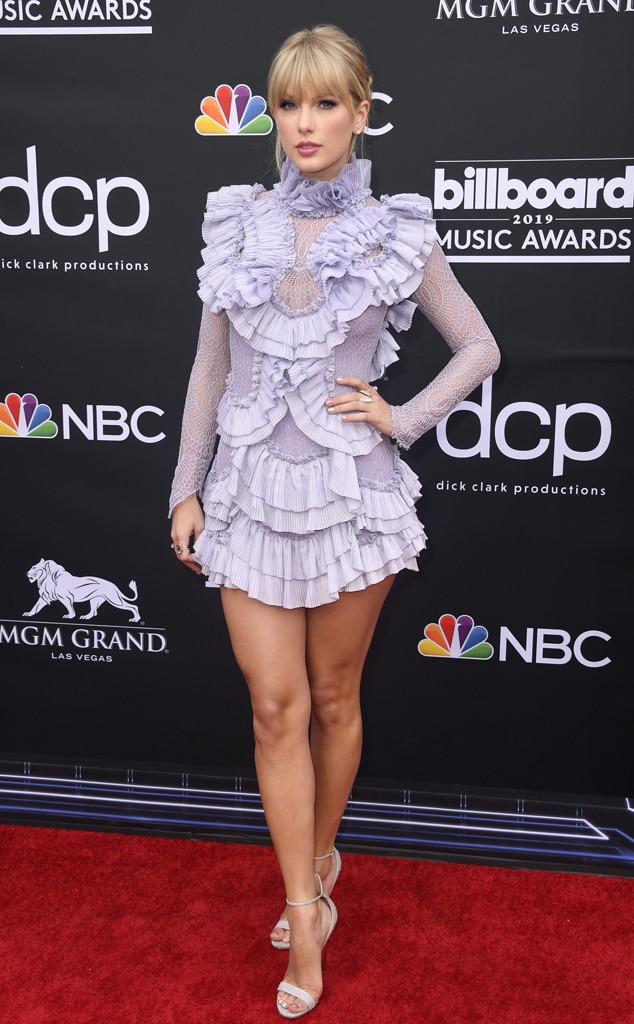 2019 Billboard Music Awards -  The pop star continued her pastel trend in this long sleeve ruffled mini dress. Dress: Raisa & Vanessa  Shoes: Casadei Earrings: Stefere and Graziela Gems Rings: Stephen Webster