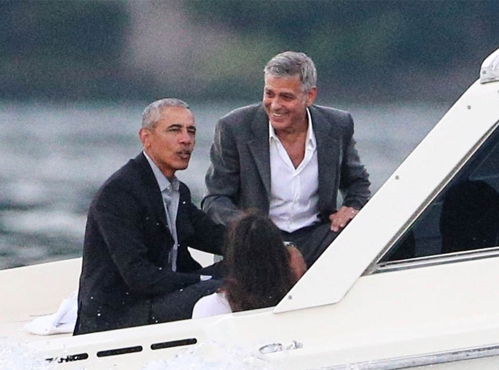 George And Amal Clooney Take A Helicopter In Venice