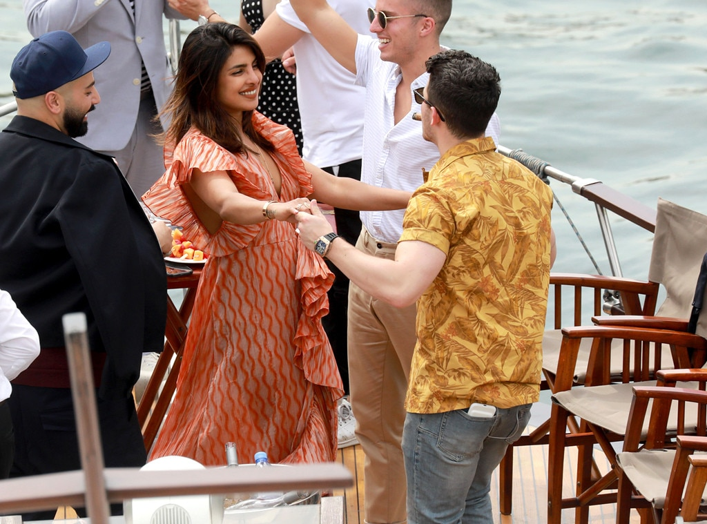 Dancing Queen -  The  Isn't It Romantic  actress shares a special moment with her husband and  Jonas Brother  member. The newlyweds celebrate Sophie and Nick on a yacht ahead of their second wedding.