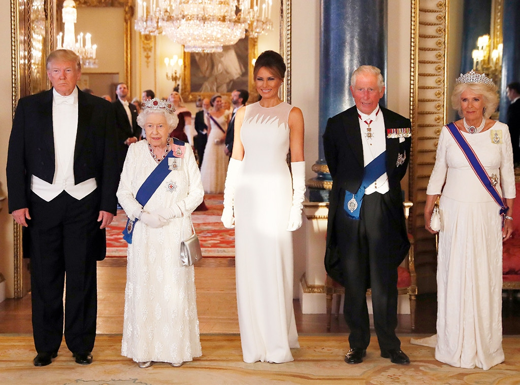 Donald Trump, Queen Elizabeth II, Melania Trump, Prince Charles, Camilla, State Banquet at Buckingham Palace