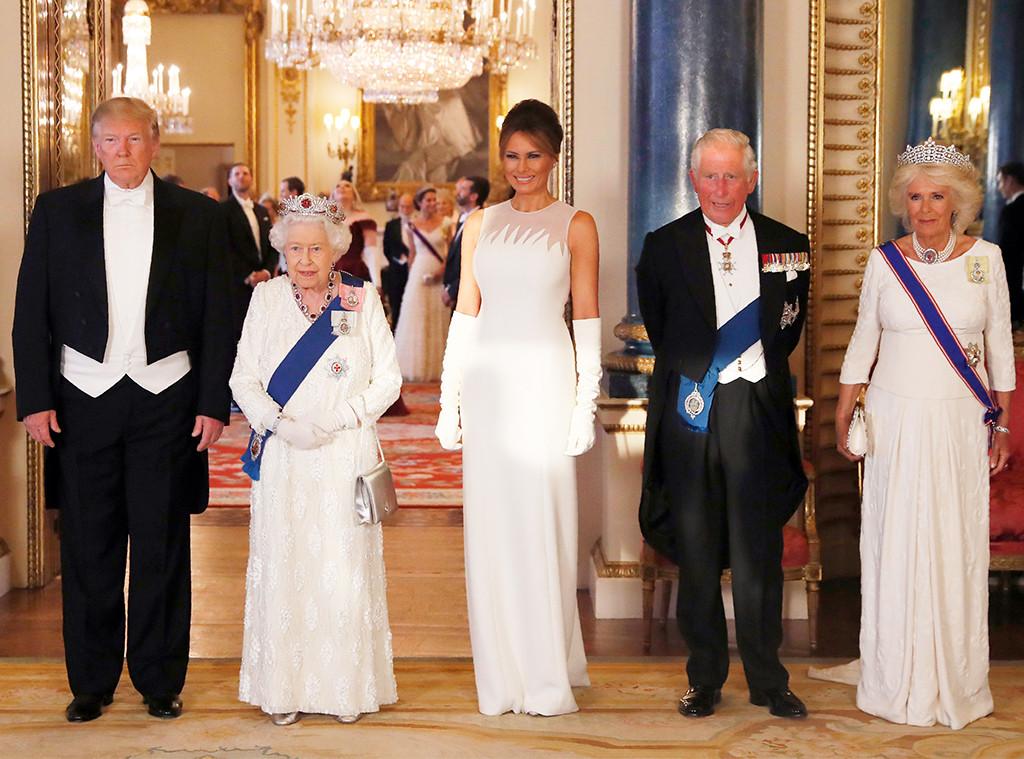 Donald Trump, Queen Elizabeth II, Melania Trump, Prince Charles, Camilla, State Banquet at Buckingham Palace