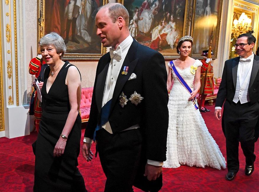 Teresa May, Prince William, Steve Mnuchin, Kate Middleton, State Banquet at Buckingham Palace
