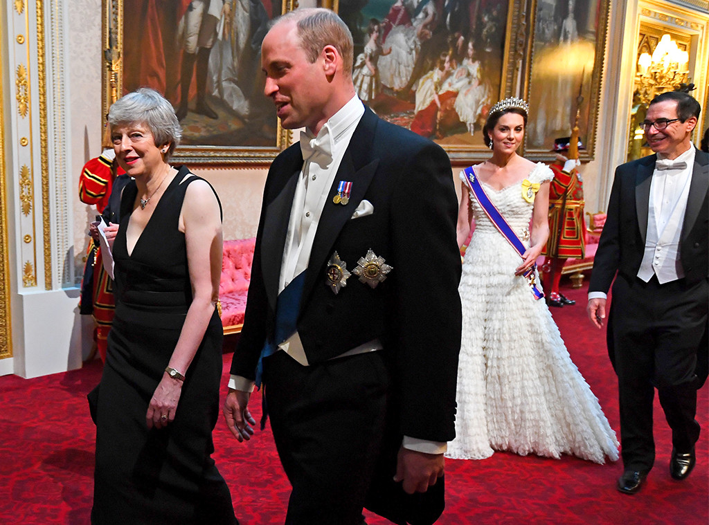 Teresa May, Prince William, Steve Mnuchin, Kate Middleton, State Banquet at Buckingham Palace
