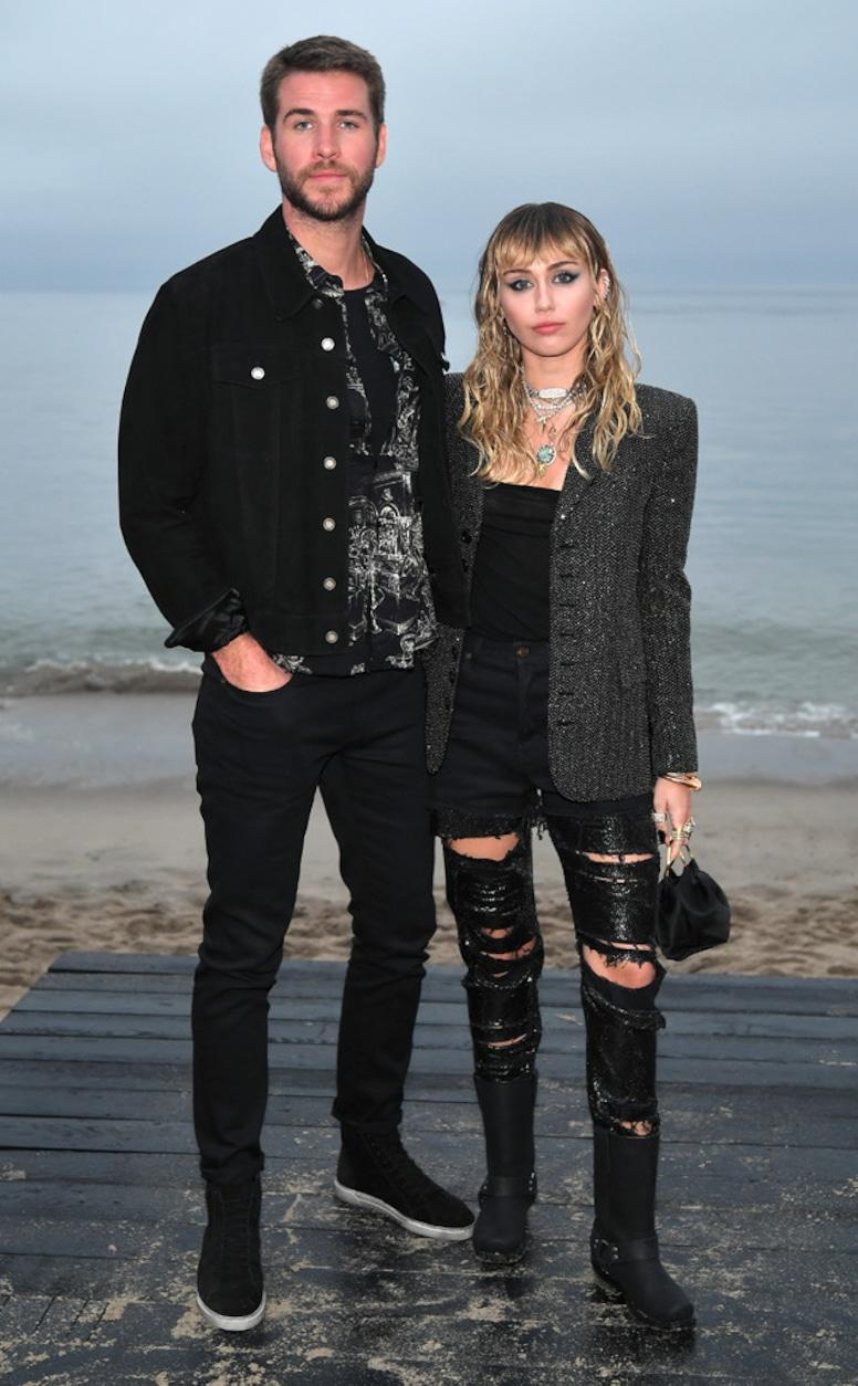 Liam Hemsworth, Miley Cyrus, Saint Laurent Mens Spring Summer 20 Show