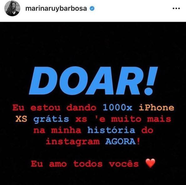 Marina Ruy Barbosa, Instagram hackeado