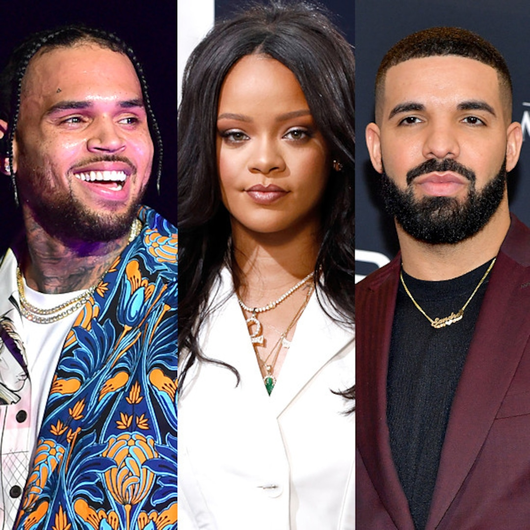 Rihanna S Exes Chris Brown Drake Face Off In No Guidance Vid E Online