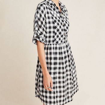 E-comm - Anthropologie Dress Sale - Dinah Gingham Shirtdress