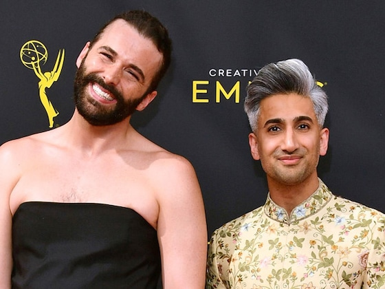 Tan France Proves He's BFF Goals After Fixing Jonathan Van Ness' Dress on the Red Carpet