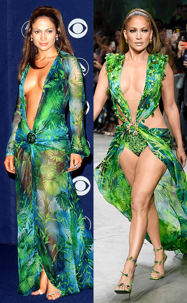 Jennifer Lopez, 2000 Grammy Awards, 2019 Milan Fashion Week, Versace dress